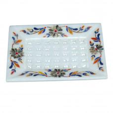 Handmade Rectangle White Marble Soap Tray For Bathroom Decor