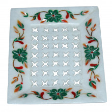 Decorative White Marble Inlay Bathroom Tray For Soap Holder