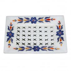 Lapislazuli Gemstone Inlaid White Soap Dish Holder