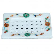 Rare Gemstones Inlaid White Marble Soap Dish For Bathroom Decor