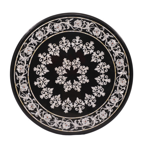 Handmade Black Marble Top Coffee Table For Home Decor