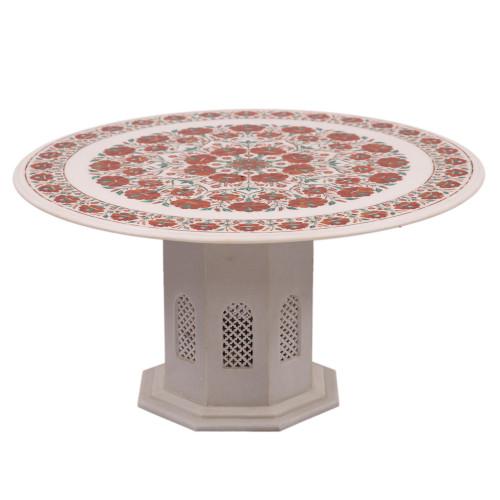 Carnelian Gemstone Inlay Round White Marble Top Coffee Table