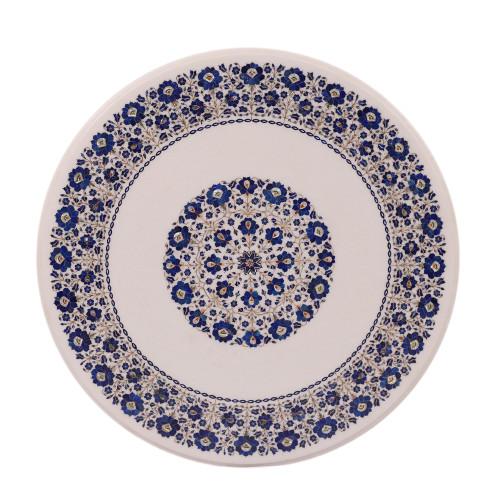Round White Marble Top Coffee Table Inlay Lapis Lazuli Gemstone