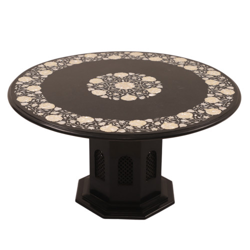 Mother of Pearl Inlay Black Marble Coffee Table For Home