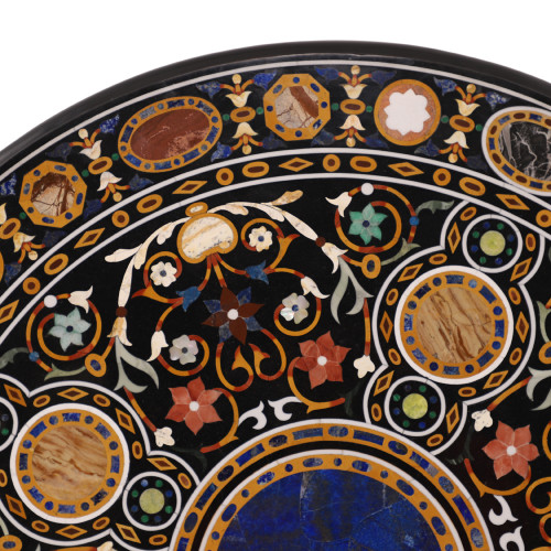 Pietra Dura Work Inlay Black Marble Top Coffee Table For Home