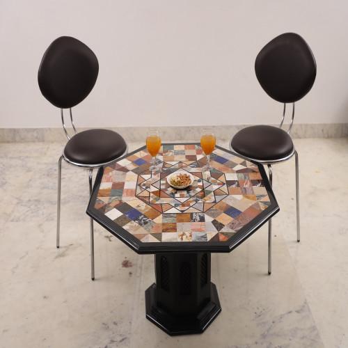 Unique Design Pietra Dura Art Round Black Marble Top Coffee Table