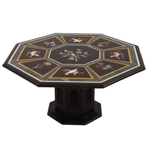 Antique Piece of Design Pietra Dura Black Marble Coffee Table