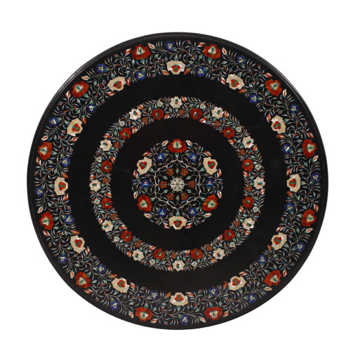 Mosaic Art Marquetry Black Marble Inlay Coffee Table Top