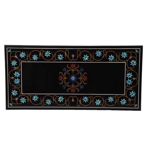 Rectangle Black Marble Coffee Table Inlay Semiprecious Gemstone