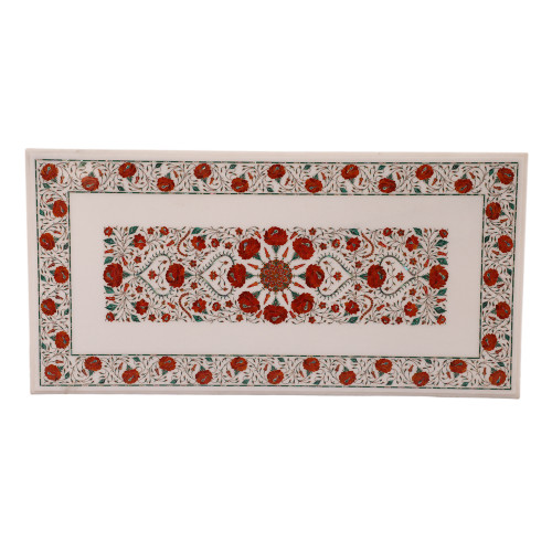 Floral Design Inlay Rectangle White Marble Coffee Table For Home Decor