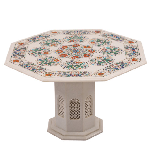 Beautiful Fine Decorative Octagon White Marble Coffee Table