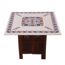Beautiful Filigree Work Inlay Gemstone White Marble Coffee Table