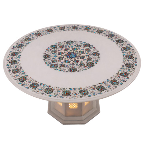White Marble Inlay Coffee Table/Dining Table For Your Home