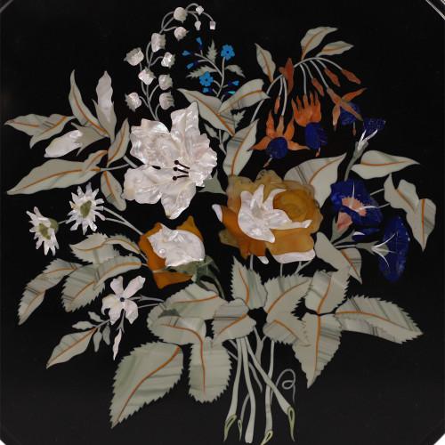 Unique Design Inlay Pietra Dura Work Black Marble Coffee Table