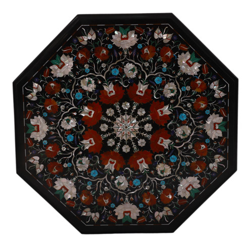Floral Design Inlay Black Marble Outdoor Coffee Table