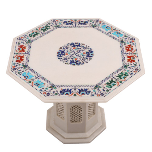 Modern Art Inlay Pietra Dura White Marble Top Coffee Table