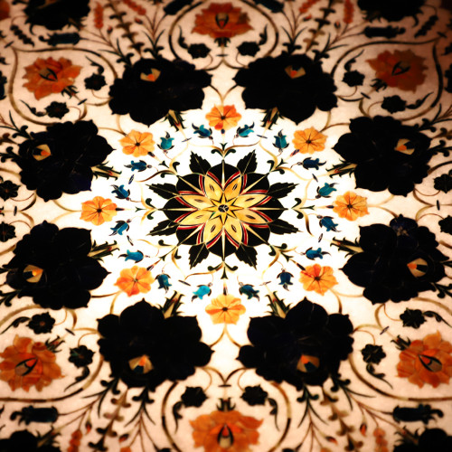 Home Decorative Pietra Dura Work Inlay White Marble Coffee Table