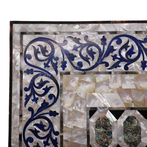 Pietra Dura Art Work Solid White Marble Coffee Table