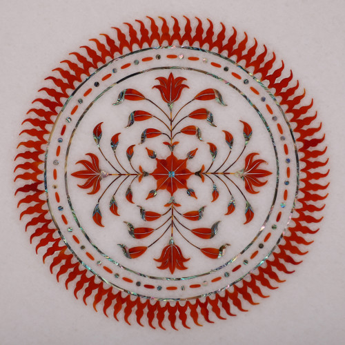 Carnelian Gemstone Inlaid Octagonal White Marble Coffee Table