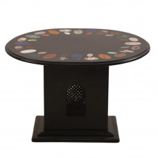 Black Marble Coffee Table Inlaid Solid Gemstone