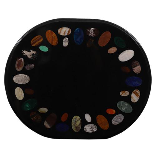Black Marble Coffee Table Inlaid Solid Gemstone