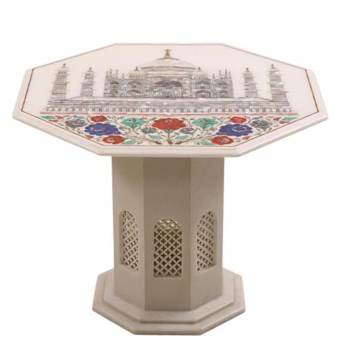 Taj Mahal Inlay White Marble Coffee Table Top