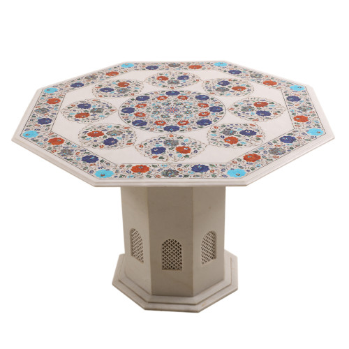 Floral Design Inlay Octagonal White Marble Top Coffee Table