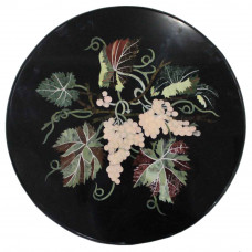 Marquetry Art Inlay Black Round Marble Top Coffee Table