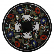 Black Round Marble Inlay Coffee Table Top Elephant Marquetry Art