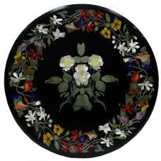 Indian Mosaic Art Inlay Black Marble Top Coffee Table
