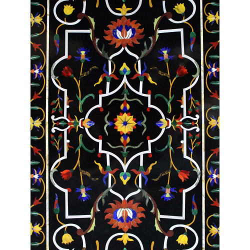 Home Decorative Black Marble Top Dining Table Inlaid Stones