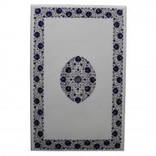 White Marble Dining Table Inlay Lapis Lazuli Gemstone