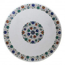 White Marble Inlay Table Top Floral Design