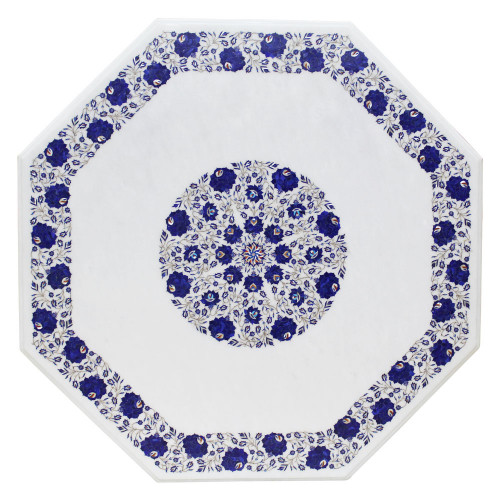 Fully Handmade Inlay White Marble Table Top