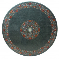 Green Marble Inlay Coffee Table Top For Outdoor Dining