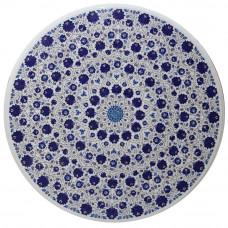 White Marble Coffee Table Top Inlaid Lapis Lazuli