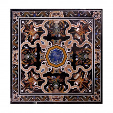 Italian Black Marble Center Table Top | Inlaid With Semi Precious Gemstones | Pietra Dura Table Top | Handmade Inlay Craft Work | Home Decor