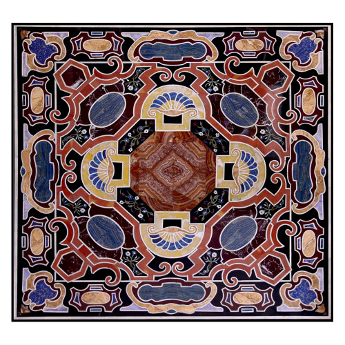 Gela Italian Coffee Table Top Black Marble Inlaid With Semi Precious Gemstones Pietre Dure Inlay Craft Work Handmade Marble Table Top | Home