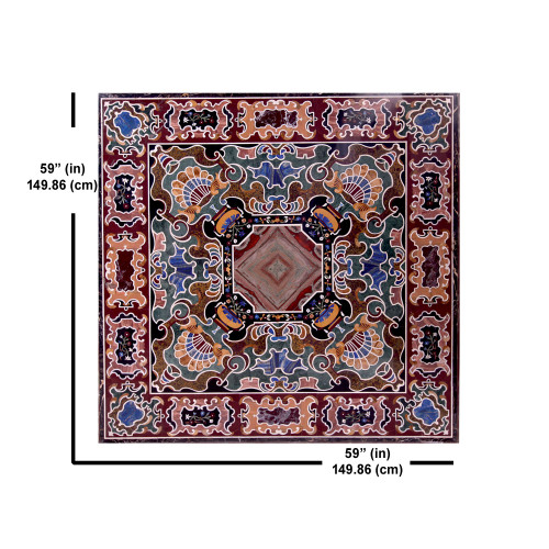 Florence Inlay Marble Table Top | Dining Table Top | Center Table Top | Handmade Inlay Craft Design Work | For Home Decor | Hotel Decor