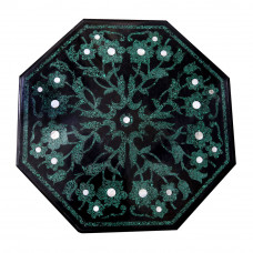 Pistoia Black Marble Coffee Table Top Inlaid With Semi Precious Gemstones Pietra Dura Inlay Work Octagonal Table For Home Decor. Hotel Decor