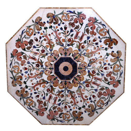 Imola Italian Octagonal Shape Coffee Table Top / Center Table Top White Marble Inlaid With Semi Precious Gemstones Pietra Dura Table Top