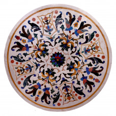 Pietre Dure Center Table Top Decorated With Semi Precious Gemstones Inlay Craft Work Italian Table Top For Home Decor & Hotel Decor