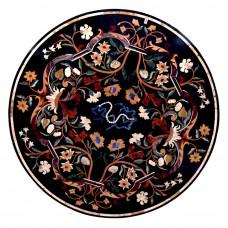 Rettori Round Black Marble Inlay Coffee Table Top Inlaid With Semi Precious Gemstones Pietra Dura Inlay Craft Work Handmade Table Top | Home