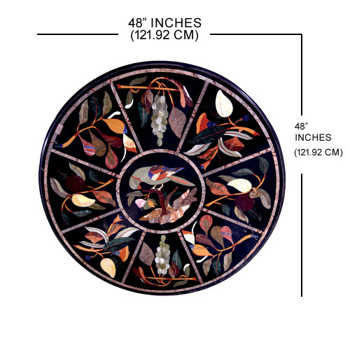 "48"" x 48"" Prato Black Marble Coffee Table Top Inlaid With Semi Precious Gemstones Marquetry Inlay Craft Work Handmade Marble Table Top For Home Decor"