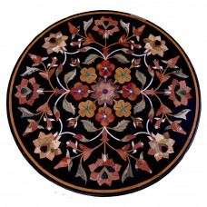 "Florence Black Marble Inlay Table Top Floral Inlay Craft Pietre Dure Handmade Round Marble Table Top With Semi Precious Gemstones 35"" x 35"