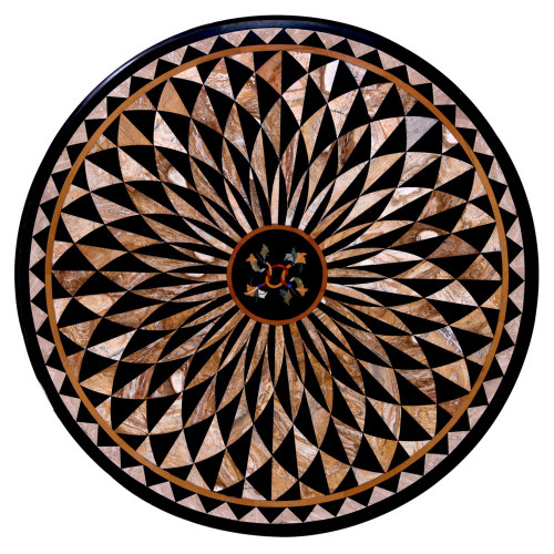 Golden Ratio Black Marble Inlay Table Top | Center Table Top | Coffee Table Top | Inlaid Semi Precious Gemstones | Handmade Table Top | Home