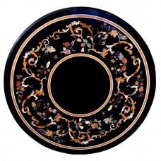 Villa Black Marble Inlay Coffee Table Top // Center Table Top // Inlaid Semi Precious Gemstones // Pietra Dura Design Work // For Home Decor