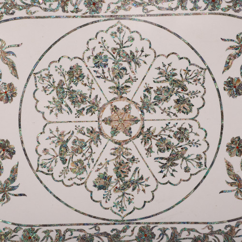 Handmade Oval White Marble Dining Table Inlaid Abalone Shell