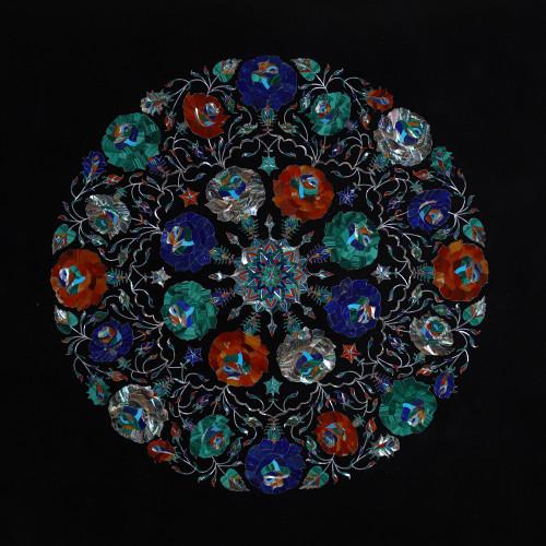 Handmade Stone Inlaid Rectangular Black Marble Top Dining Table