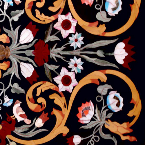 Castello Dining Table Top Black Marble Inlaid With Semi Precious Gemstones Floral Inlay Art Work Pietra Dura Marble Table Top For Home Decor